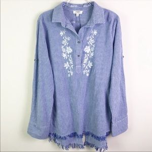 Umgee Striped Floral Embroidery Collar Long Sleeve
